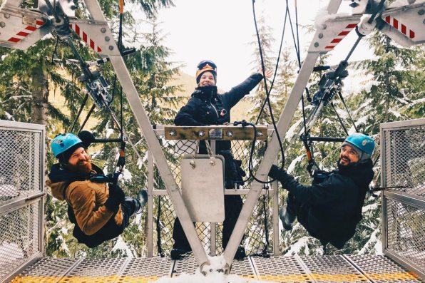 Whistler Pride Gay Skiwoche Zip Line Adventure with TAG during Whistler Pride and Ski Festival 2019 © Coupleofmen.com