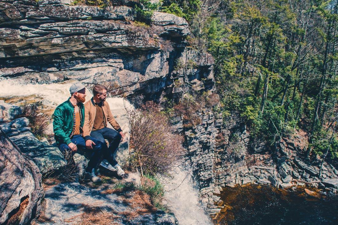 Gay Reise Dutchess County Sitting by the Awosting Falls at Minnewaska State Park Preserve on the Shawangunk Mountain ridge © Coupleofmen.com