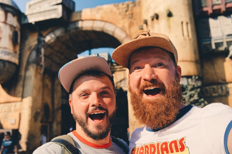 Bearded gay travel bloggers amazed Star Wars Land Batuu Disneyland Anaheim
