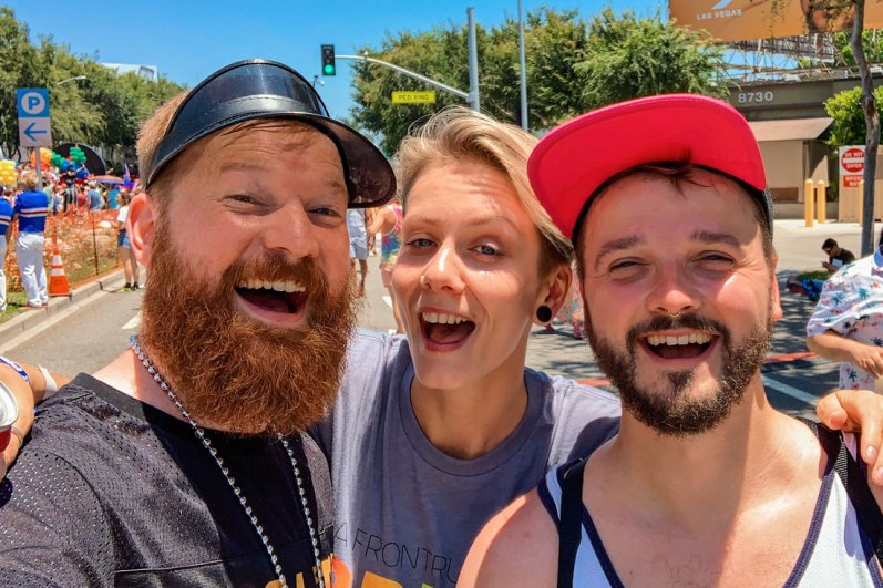 Bearded men Selfie with lesbian girl in West Hollywood © Coupleofmen.com