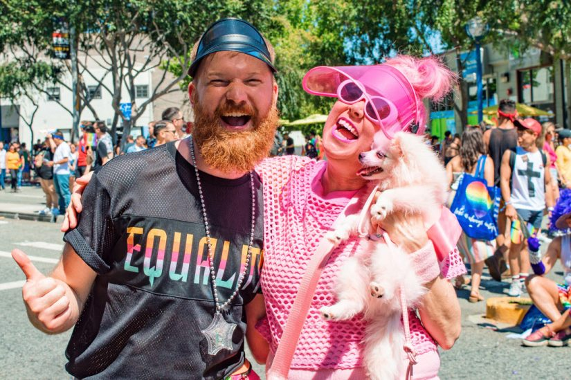 Besties! Daan in love with this pink lady and her pink dog having one thing in common: Celebrating love for Equality at Gay Pride Los Angeles © Coupleofmen.com