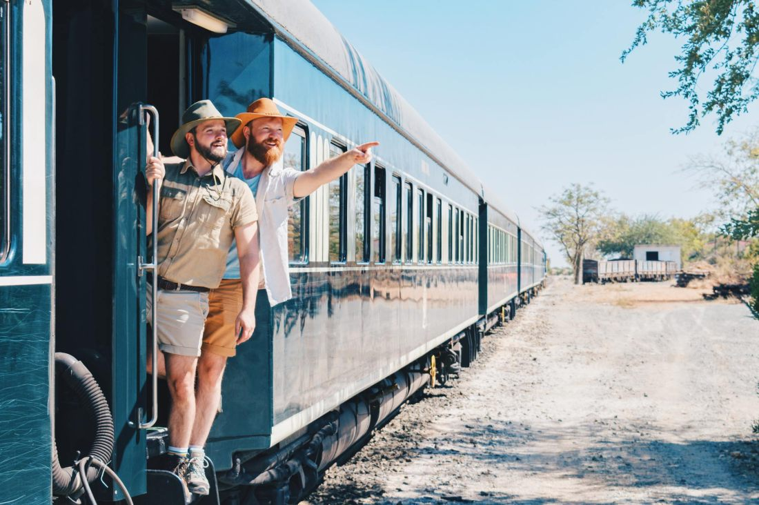 Southern Africa Train Safari Experiencing Africa through a gay couple of men's eyes from a luxury train perspective © Coupleofmen.com