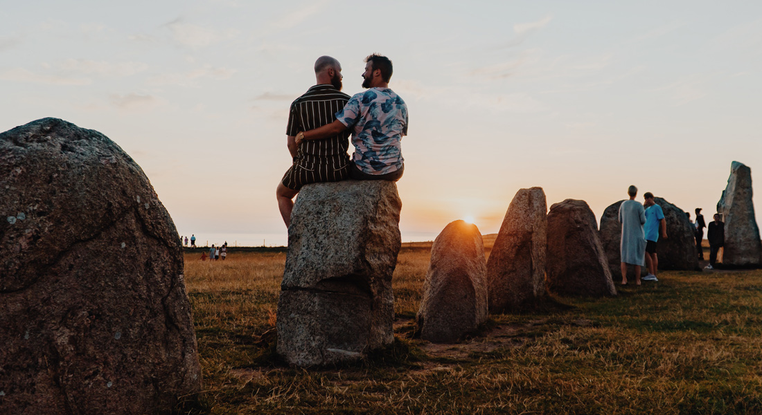 Gay Summer Road Trip Skåne Just another amazing sunset in South Sweden, this time at Ales Stenar Stone Ship © Coupleofmen.com