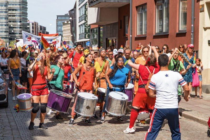 Gay Pride Malmö 2019 Drummer boys and girls and queers opening the pride parade in Malmö 2019 © Coupleofmen.com