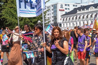 Gay Pride Malmö 2019 Trans group proudly representing the T of LGBTQ+ at Malmö Pride 2019 © Coupleofmen.com