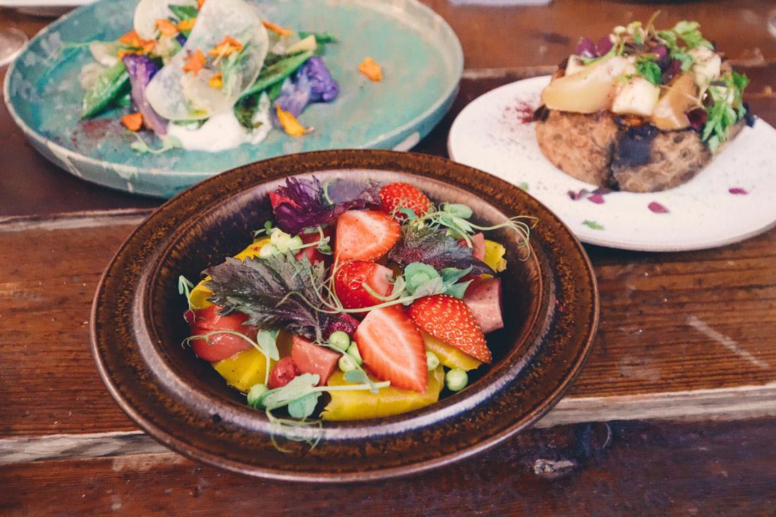 Mineral Vegan Restaurant Malmö Main Course 2 at Mineral Malmö: Cold smoked carrots, chioggia beet, green peas, strawberries and elder flower vinaigrete © coupleofmen.com
