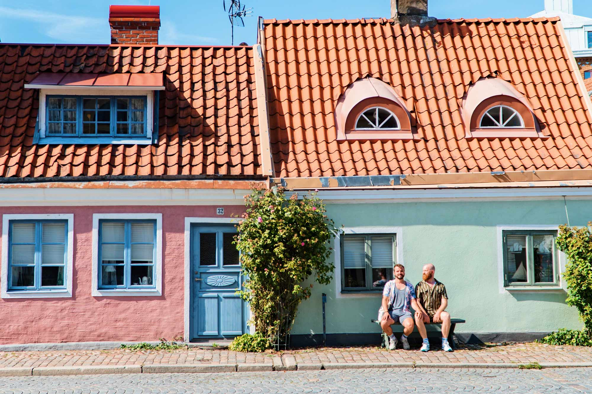 Gay Summer Road Trip Skåne Ystad is known for its colorful houses surrounded by flowers © Coupleofmen.com
