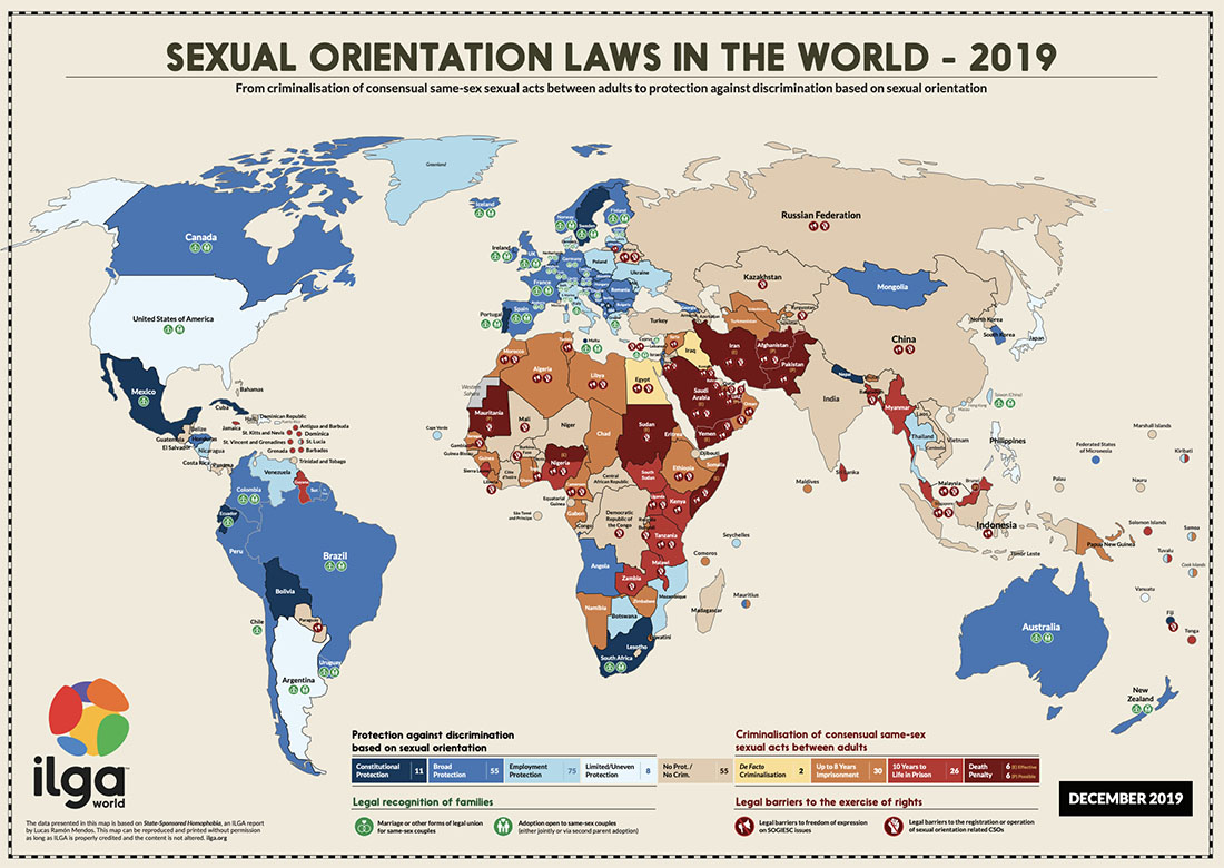 gay travel index 2020 spartacus ILGA map 2019