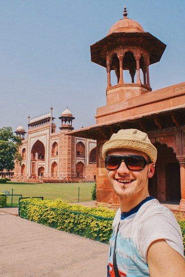 Karl couldn't be more excited to finally see the Taj Mahal © Coupleofmen.com