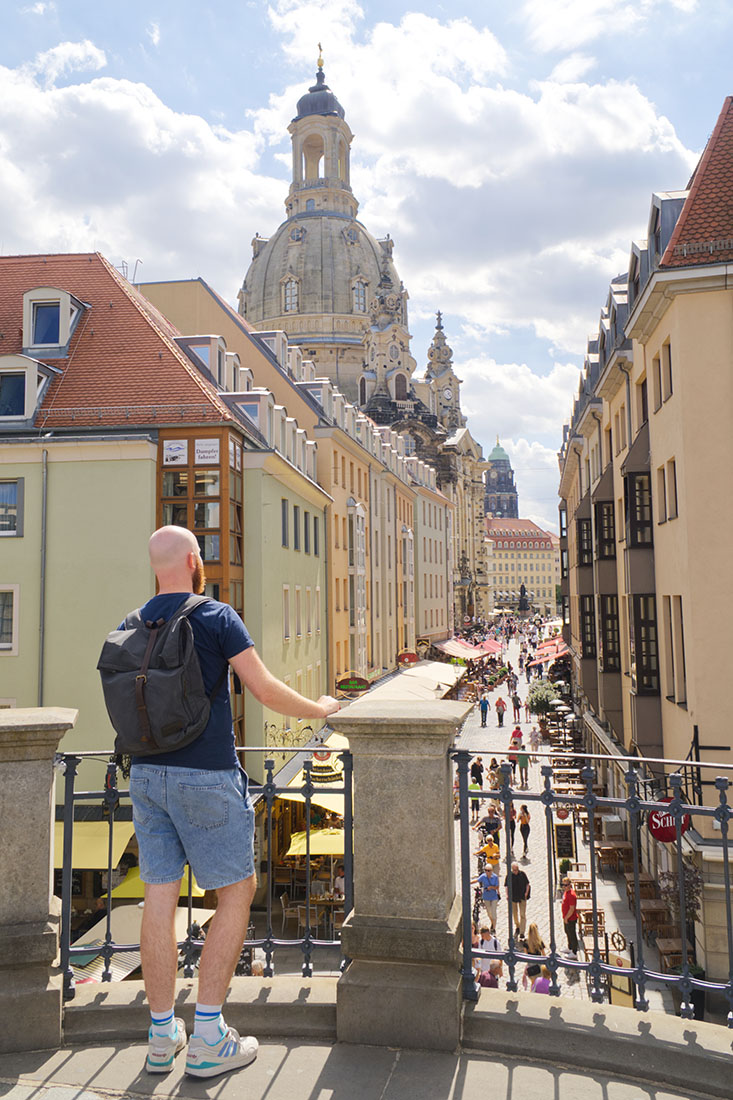 Daan loves the stunning view over the Church of our Lady and the Newmarket, Dresden-Altstadt © Coupleofmen.com