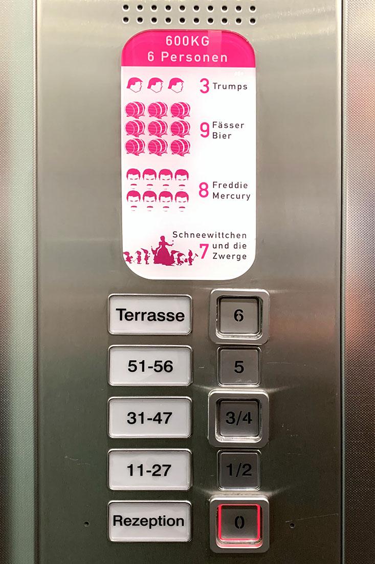 Fun in the Elevator at Deutsch Eiche Rooftop Bar © Coupleofmen.com