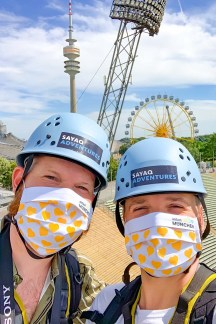 Munich Gay City Trip Mask selfie before our rooftop tour on the Olympic Stadium begin © Coupleofmen.com