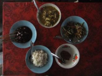 Lamb sate, chicken rice soup and gado-gado, Indonesia