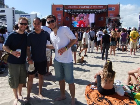 Watching football on Cocacabana beach with our new Brazilian Friends