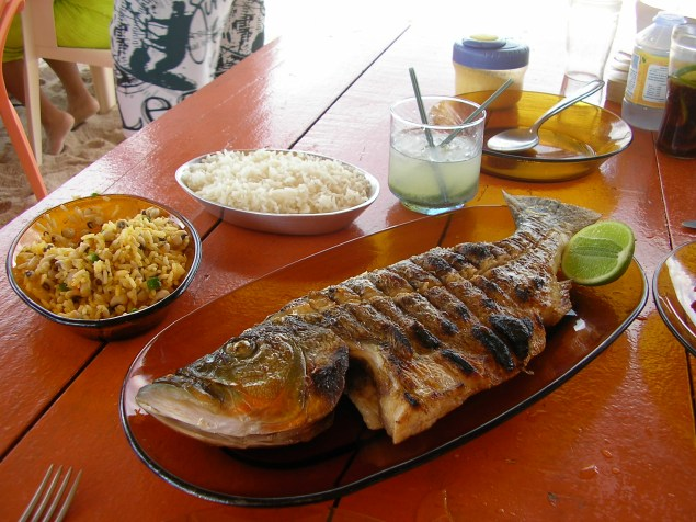 A BBQ´d fish lunch on the beach with rice, beans (and a caiprinha!), Brazil