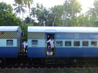 A delayed train, Varkala-Allepey, India