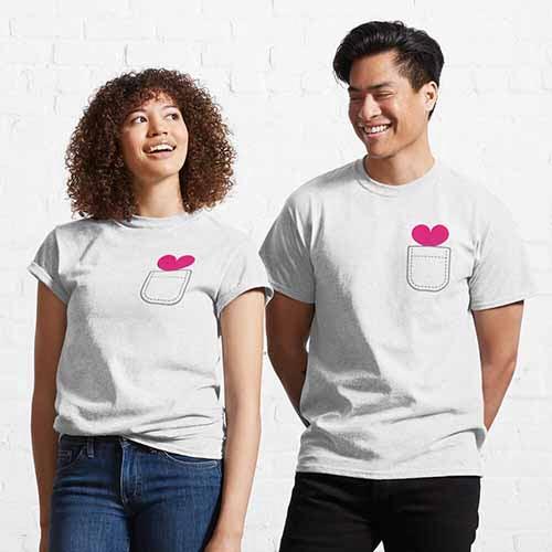 Pocket Couple Heart Classic T-Shirt