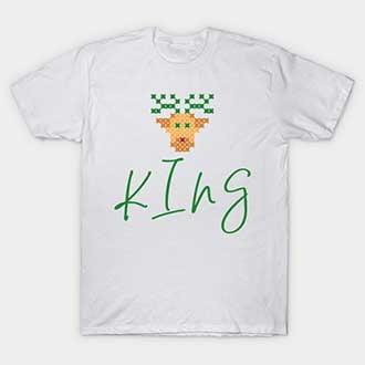 Pixel Reindeer Christmas King T-Shirt