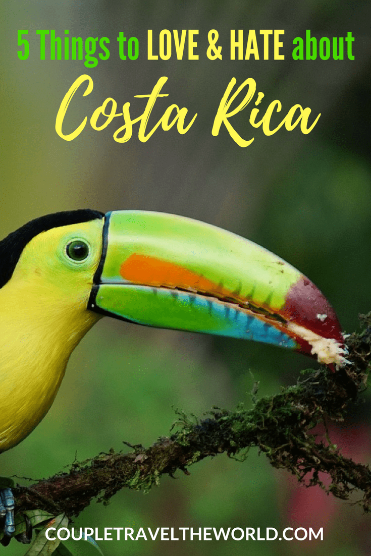 An image detailing 5 things to love and hate about costa rica