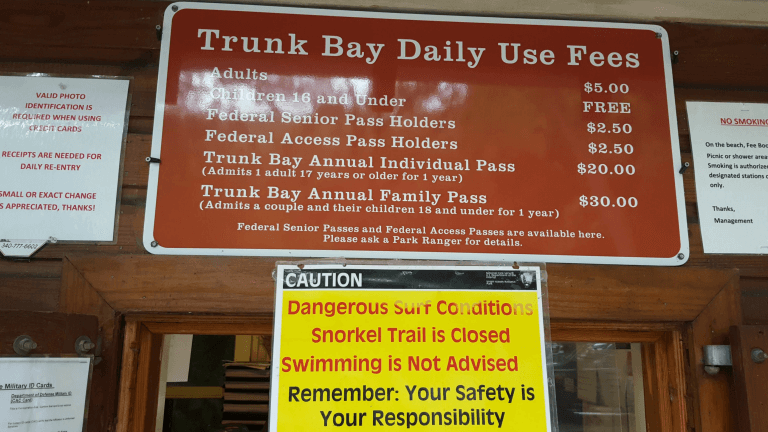 National Park fees at Trunk Bay