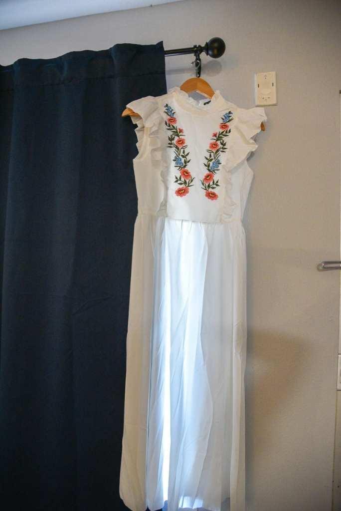The shein frilled neck ruffle trim dress.