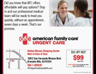 American Family Care Urgent Care, Porter Ranch, coupons, direct mail, discounts, marketing, Southern California
