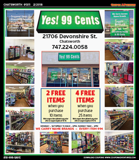 99 Cents Chatsworth Coupons Direct Mail Discounts Marketing