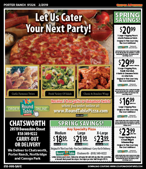 Round Table Pizza Tarzana.Porter Ranch 91326 February Coupons Coupon Adventures