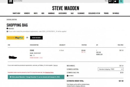45% Discount Steve Madden Coupon