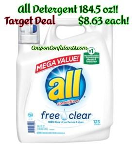 All Laundry Detergent MEGA Size $8.63 at Target!