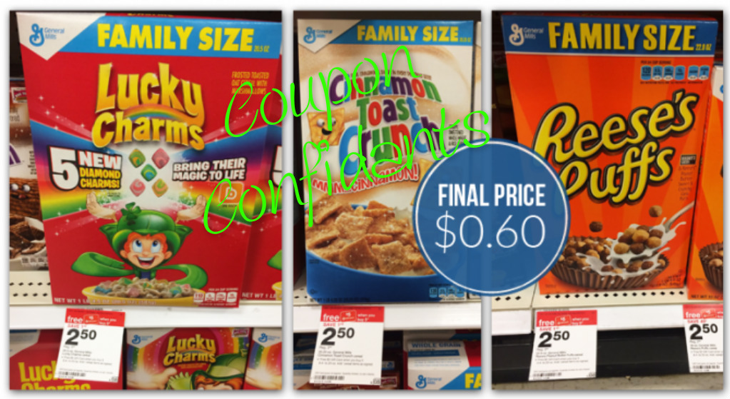 Only .70 for FAMILY SIZE boxes of Big G General Mills Ceral @ Target