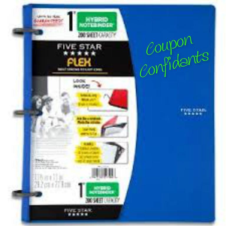 Fiver Star 1″ binder at Walmart for $1.47
