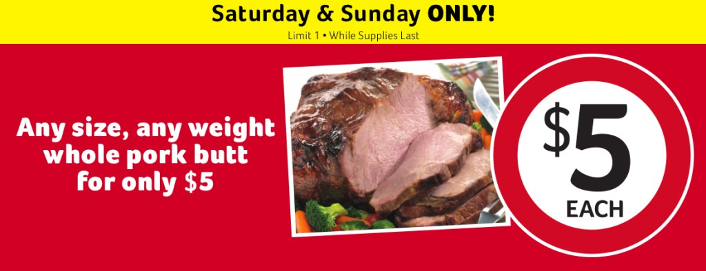 Bilo Whole Pork Butt Deal Going On Today And Tomorrow Only (December 19th and December 20th)