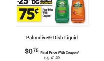 Palmolive only .33¢ @ Walmart, .38¢ @ Family Dollar and .50¢ at DG