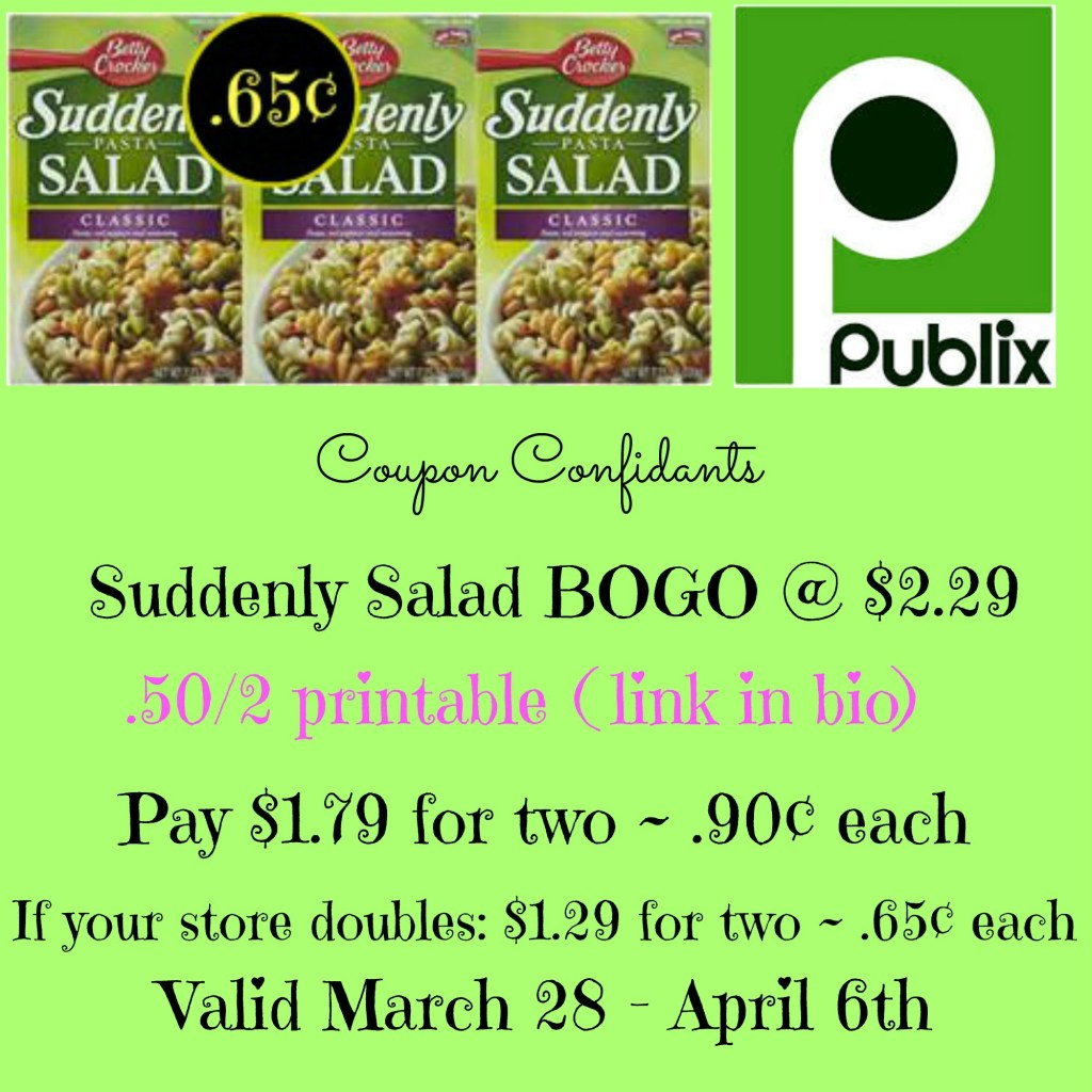 Coupon RESET Suddenly Salad as low as .65¢ a box  at Publix starts 3/28