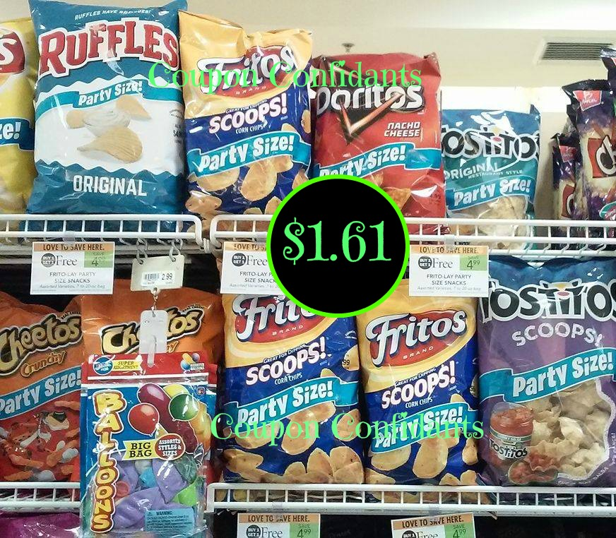 Frito Lay Party size bags $1.66 each @ Publix ( if your store takes TQ)