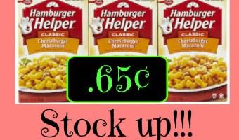 Winn Dixie: Hamburger Helper just .65¢ each! Two days Only!