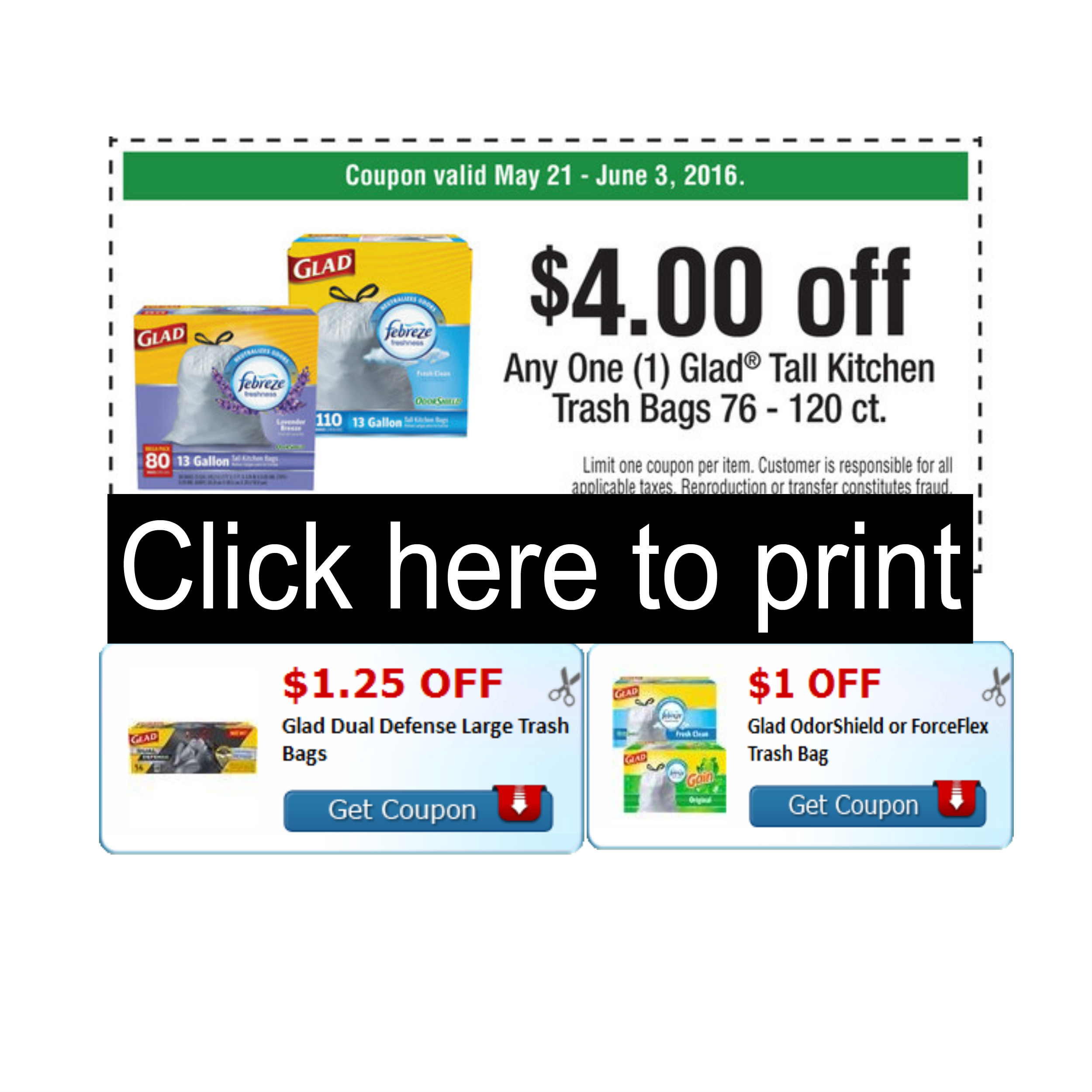 HOT ~ Two new Glad trash bags coupons to match the  4 Publix coupons ... 3342668304