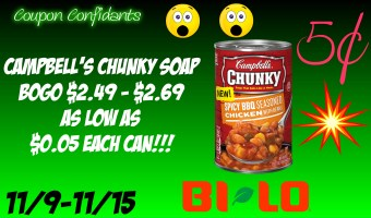 Campbell's Chunky Soup for only 5¢!!!!! WOW!!! NEW Bi-lo Deal 11/9 – 11/15