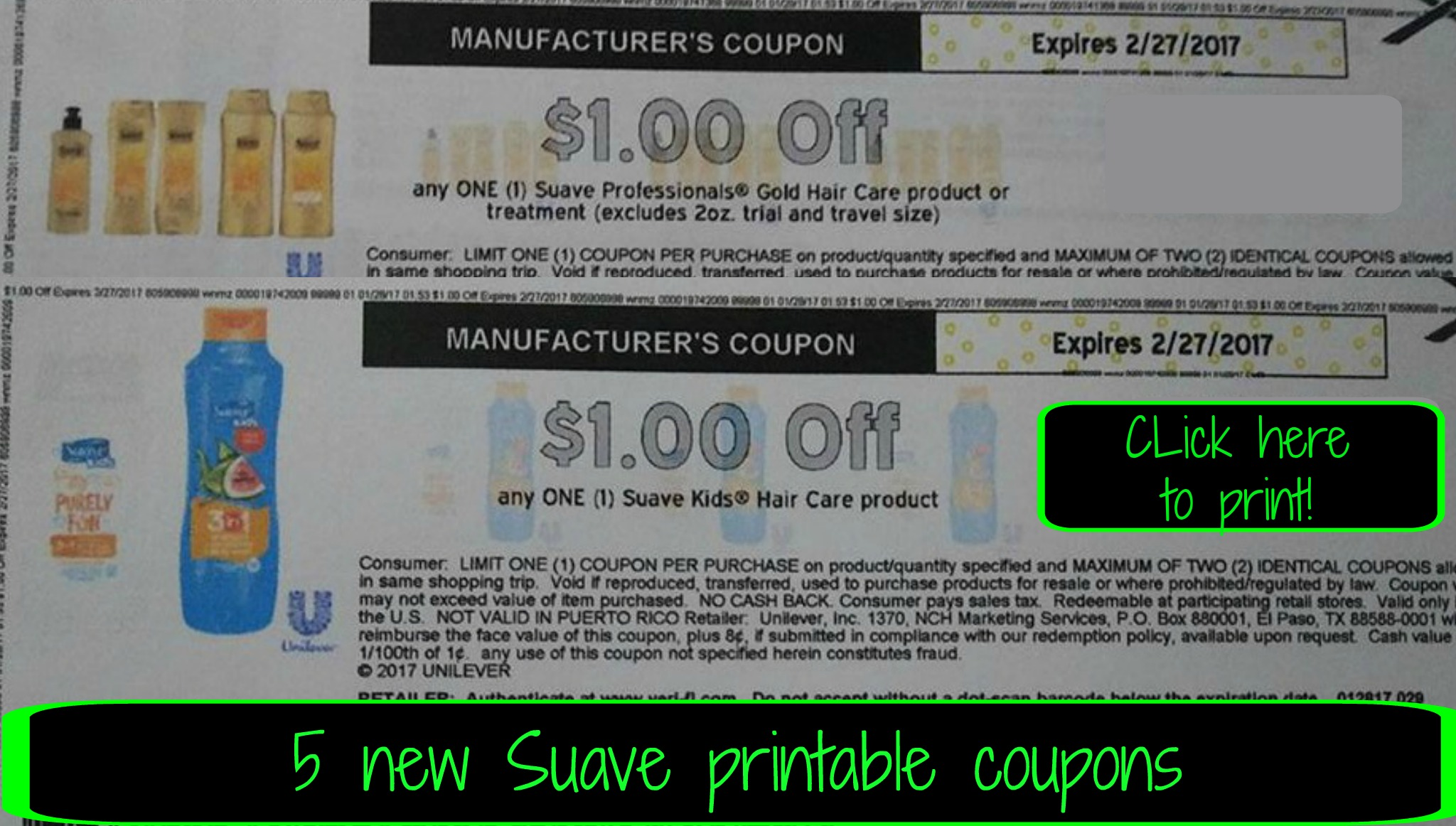 graphic about Suave Printable Coupons known as Simply click right here in the direction of print ~ 5 fresh Artful printable coupon codes