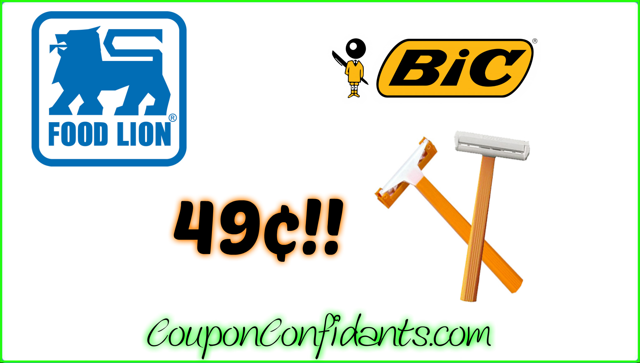 Bic Razors only 49¢ at Food Lion!