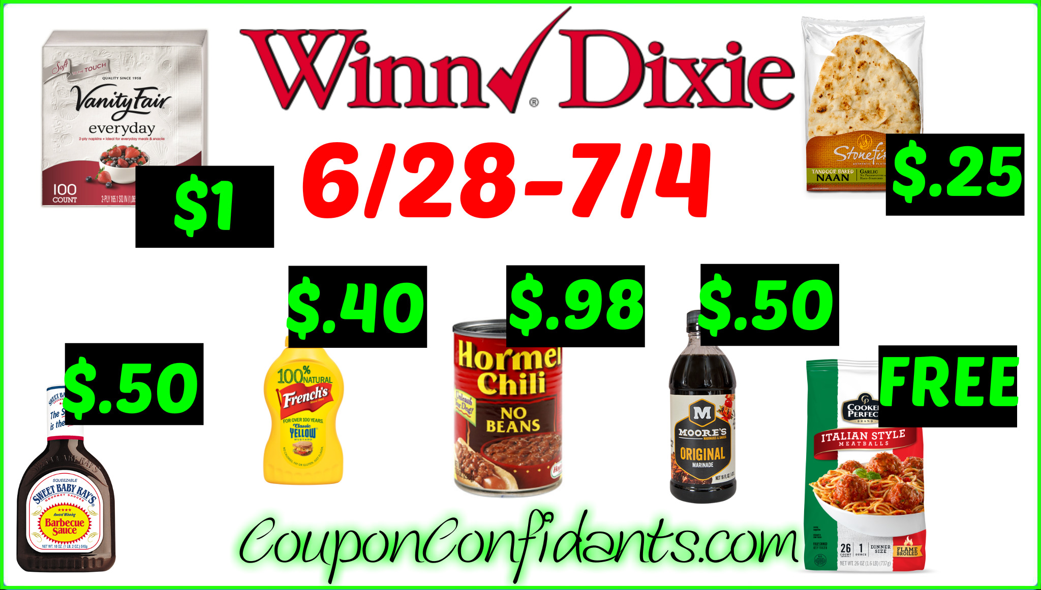 Winn Dixie is a neighborhood-style grocery store that carries all the essential groceries and features in-store bakery services, a wonderful deli section, and sells many kosher foods including bakery, beverages, condiments, dairies, and frozen among other types.