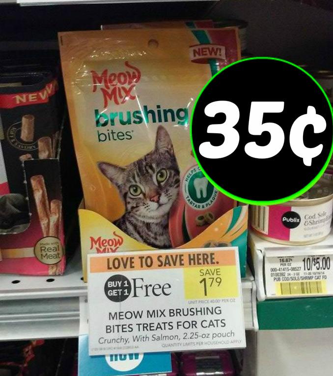 Meow Mix Treats 35¢ at Publix!