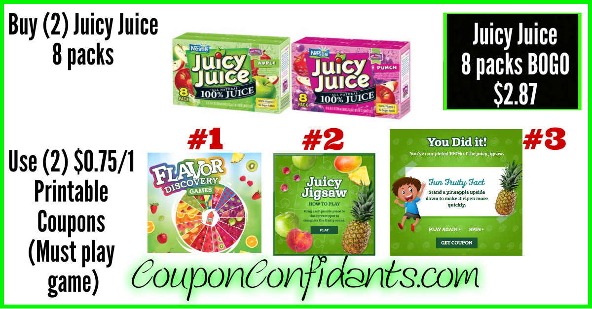 graphic relating to Scene 75 Printable Coupons called Juicy Juice for Affordable at Publix! ⋆ Coupon Confidants