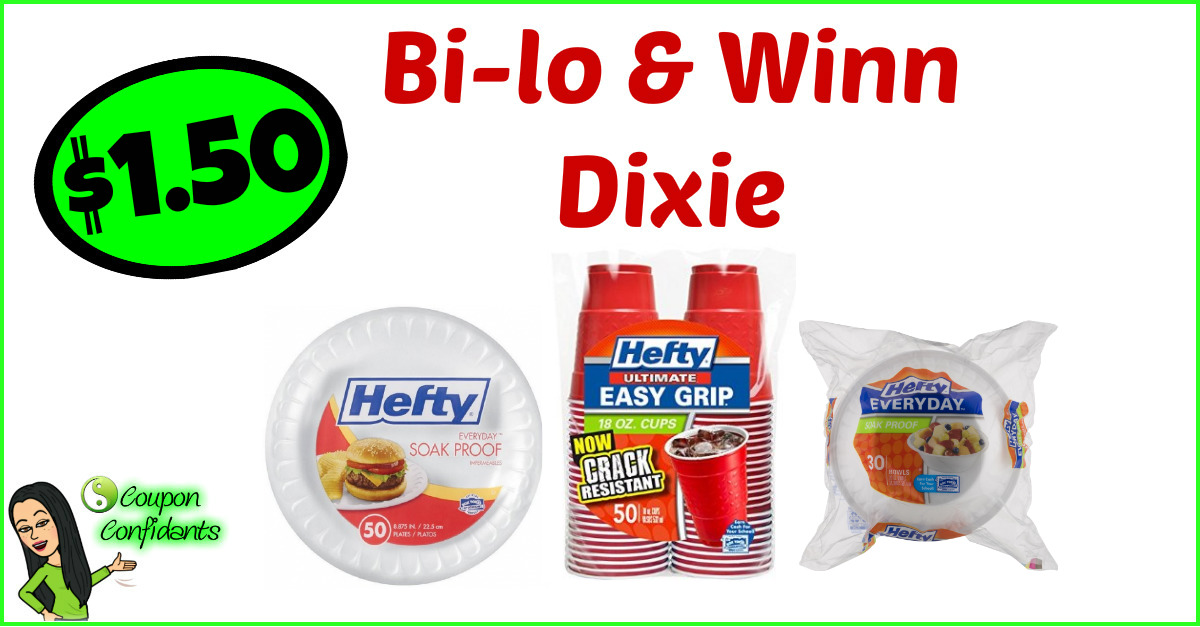 picture relating to Hefty Printable Coupons titled $1.50 Large Bowls, Plates, or Cups - Bilo and Winn Dixie