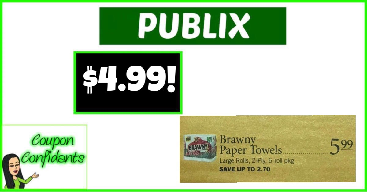 graphic relating to Brawny Printable Coupons known as $4.99 Brawny Paper Towels at Publix! ⋆ Coupon Confidants