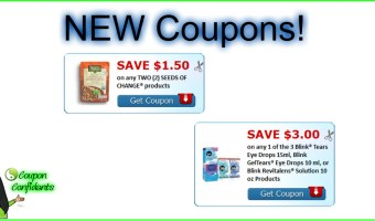 NEW Coupons! Seeds of Change and Blink, Revitalens!