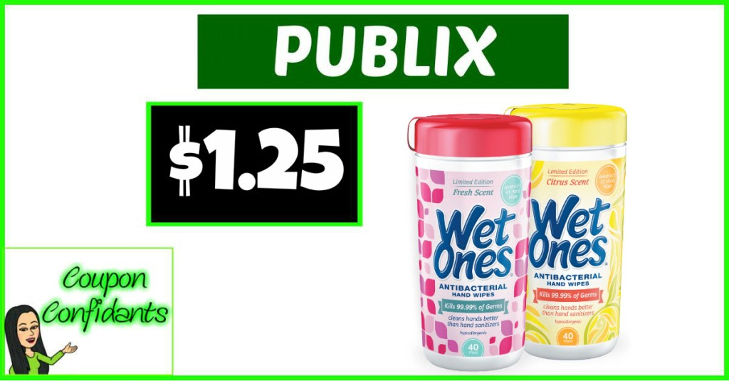 Wet Ones Canisters $1.25 at Publix!