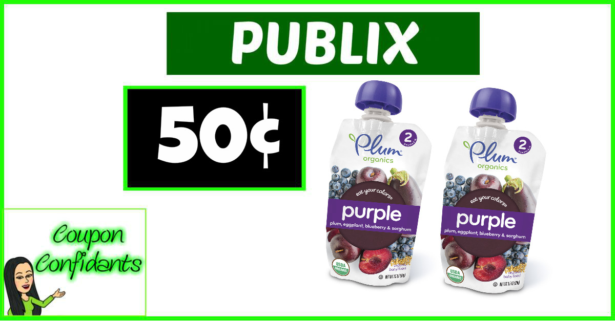 image relating to Plum Organics Printable Coupon titled Plum Organics 50¢ just about every at Publix! ⋆ Coupon Confidants