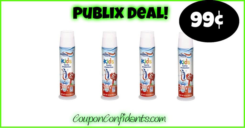 99¢ Aquafresh Toothpaste at Publix!